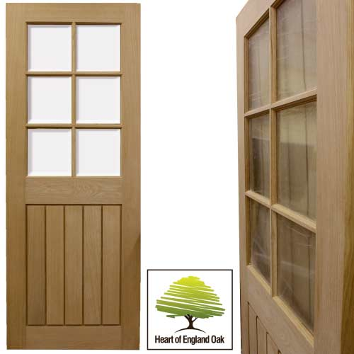 Mexicano Half Glazed Veneer Oak Door Internal Doors